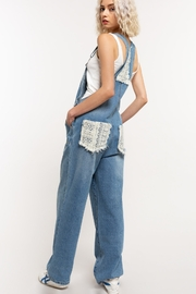 POL Clothing  Denim Lace Pockets Overhauls - Side cropped