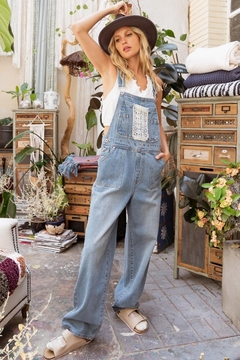 POL Clothing  Denim Lace Pockets Overalls - Product List Image