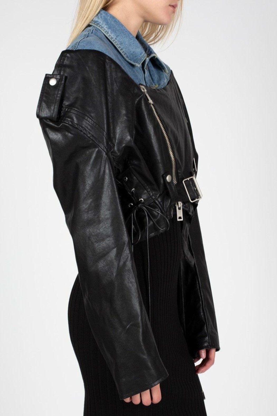 3447b0d5ed BEULAH STYLE Denim   Leather Jacket from Brooklyn by Glam Expressway ...