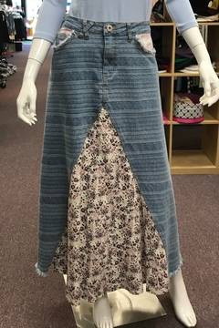 Shoptiques Product: DENIM MAXI WITH FLORAL INSET
