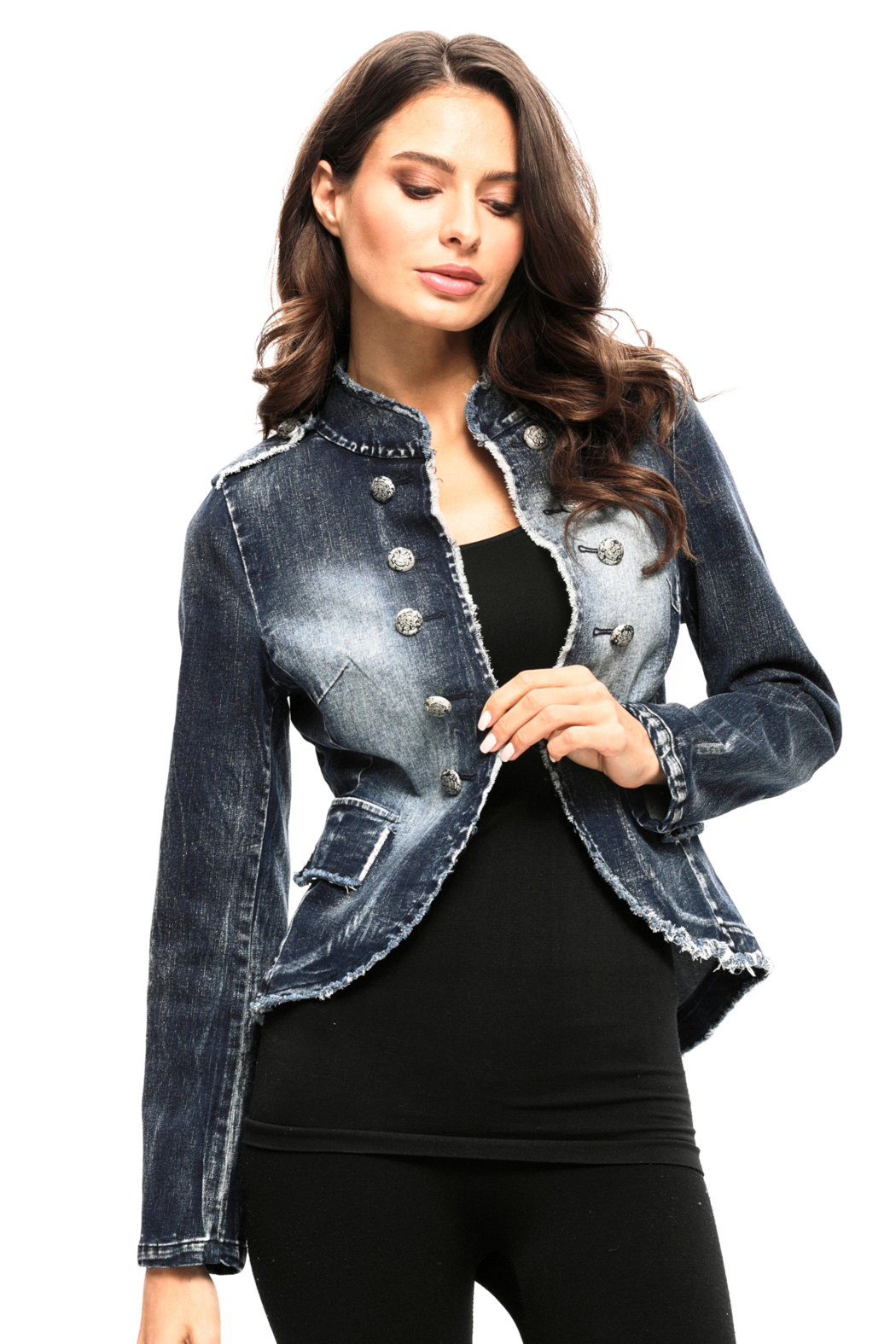 Adore Denim Military Jacket - Front Cropped Image
