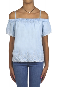 Tractr Denim Off-Shoulder Top - Product List Image