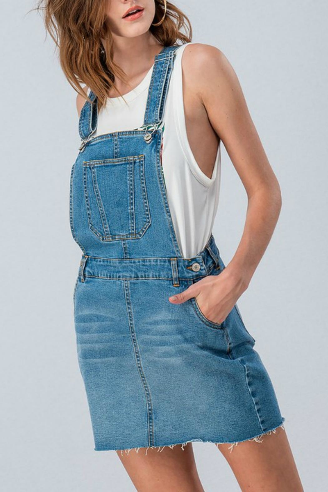 Pretty Little Things Denim Overall Dress - Main Image