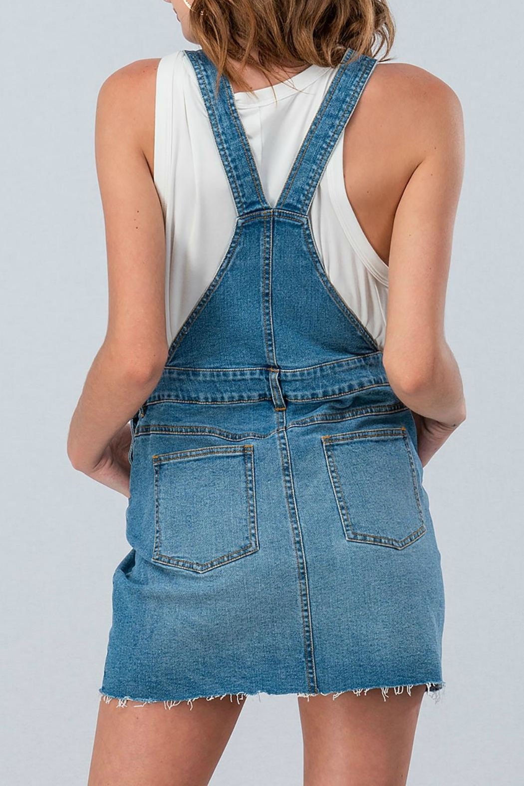 Pretty Little Things Denim Overall Dress - Front Full Image