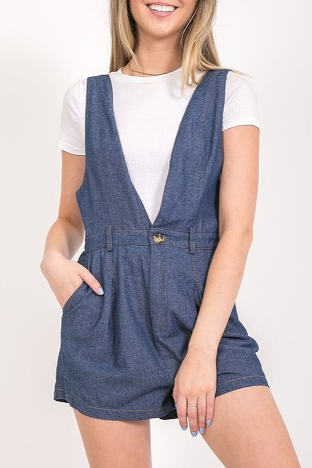 Very J Denim Overall Romper - Front Cropped Image