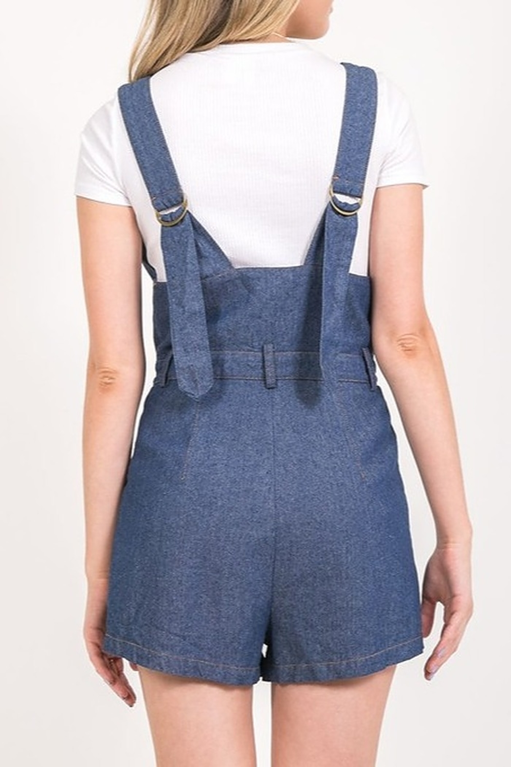 Very J Denim Overall Romper - Side Cropped Image