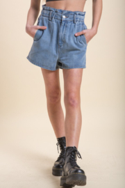Emory Park Denim Paperbag Waist Short - Front cropped