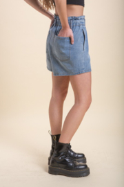 Emory Park Denim Paperbag Waist Short - Front full body