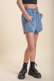 Emory Park Denim Paperbag Waist Short - Back cropped