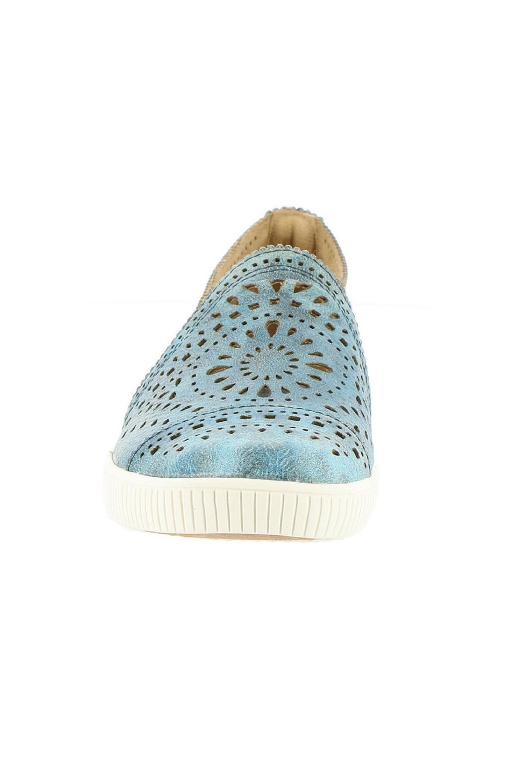 Earth Denim Perforated Sneaker - Side Cropped Image