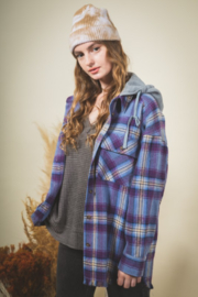 Very J Denim Plaid Shacket - Front cropped