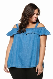 Dex Denim Ruffle Top - Product Mini Image