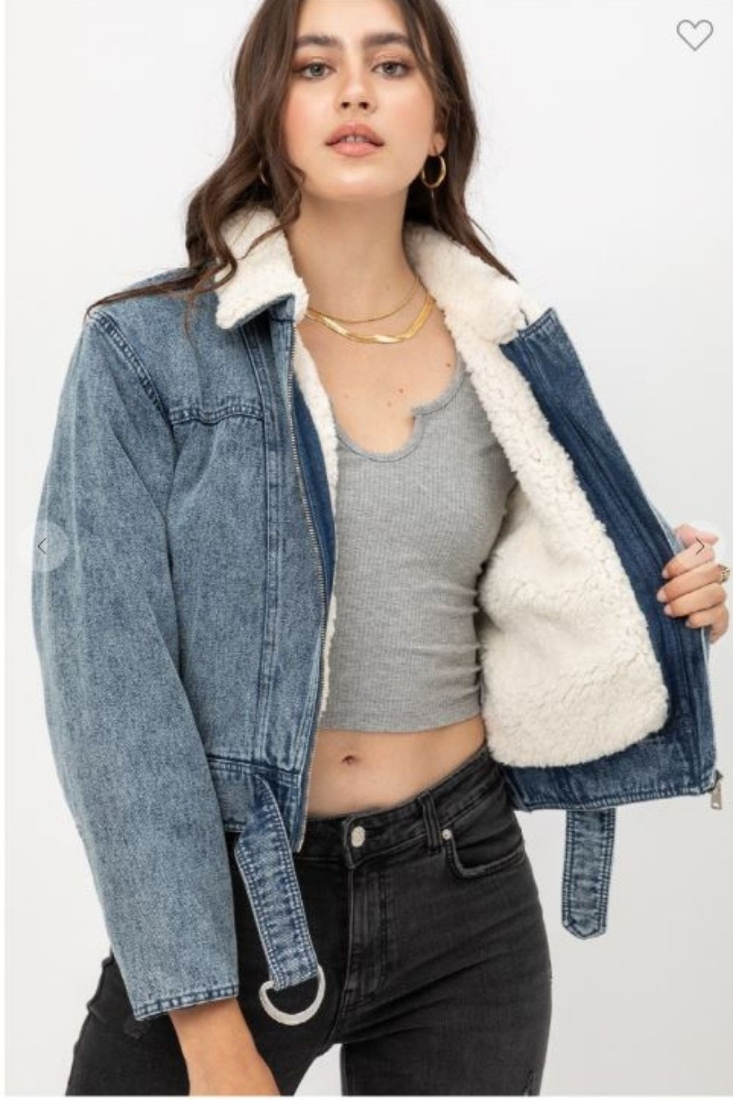 one & only Denim Shearling Collar Jacket - Main Image