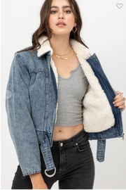 one & only Denim Shearling Collar Jacket - Front cropped
