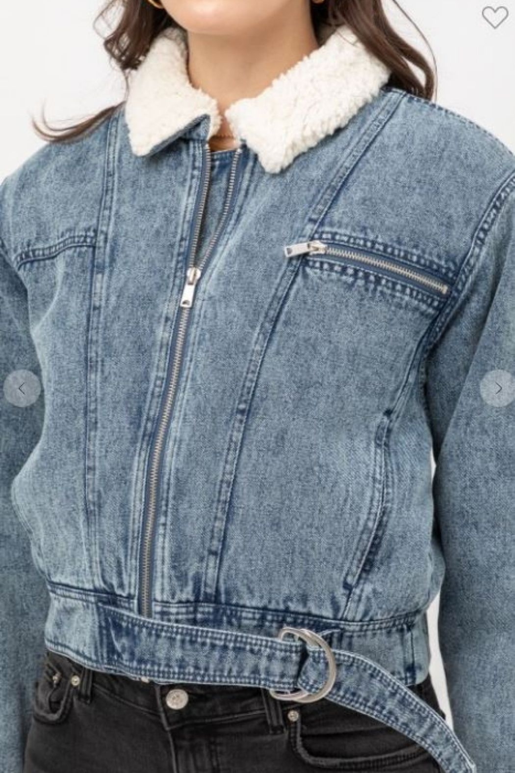 one & only Denim Shearling Collar Jacket - Front Full Image