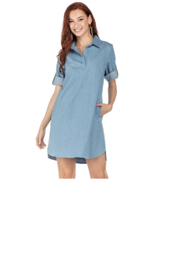 Joy Joy Denim Shirt Dress - Product List Image