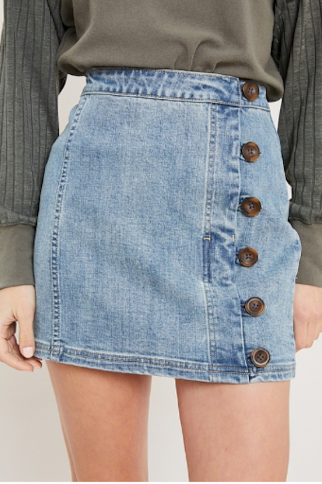 Wishlist Denim Side Button Mini - Front Cropped Image