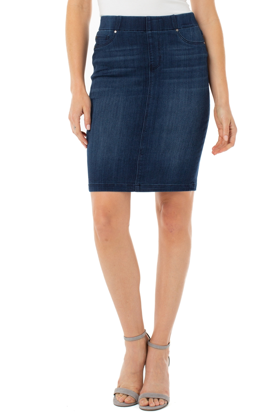 Liverpool Jean Company Pull on Denim Pencil Skirt - Main Image