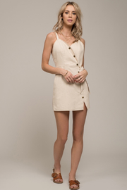 Moon River Denim Snap Front Jumper Dress - Product Mini Image