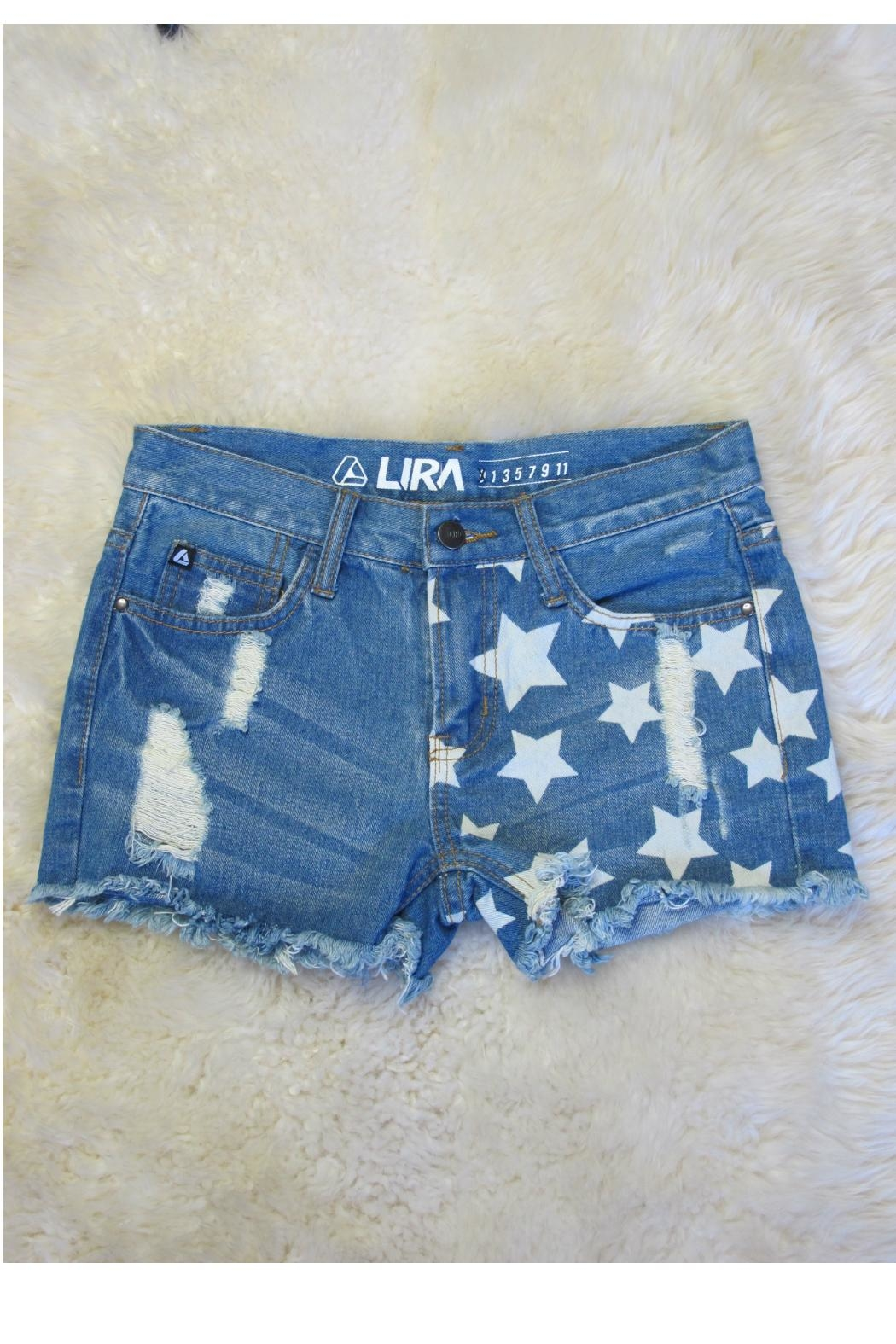 Minx Denim Star Shorts - Front Cropped Image