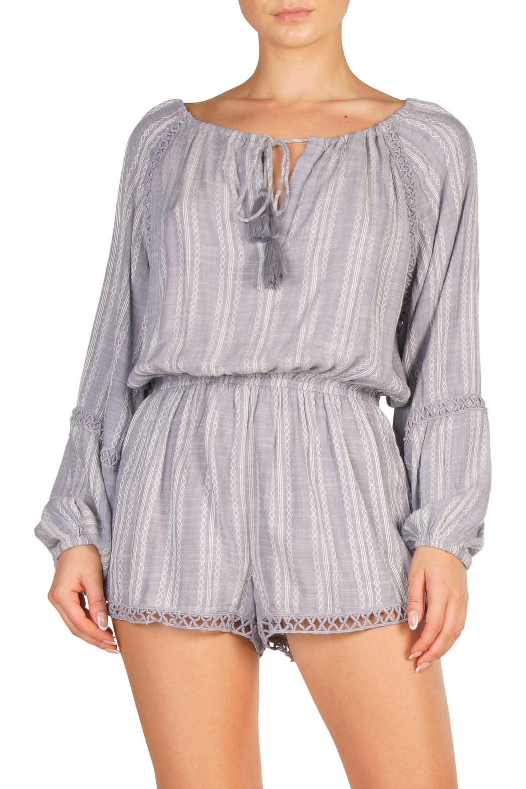 Elan Denim Stripe Romper - Main Image