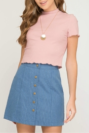 She + Sky Denim Stripe Skirt - Product Mini Image
