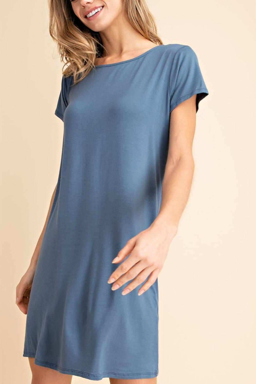 Mittoshop Denim T-Shirt Dress - Front Full Image