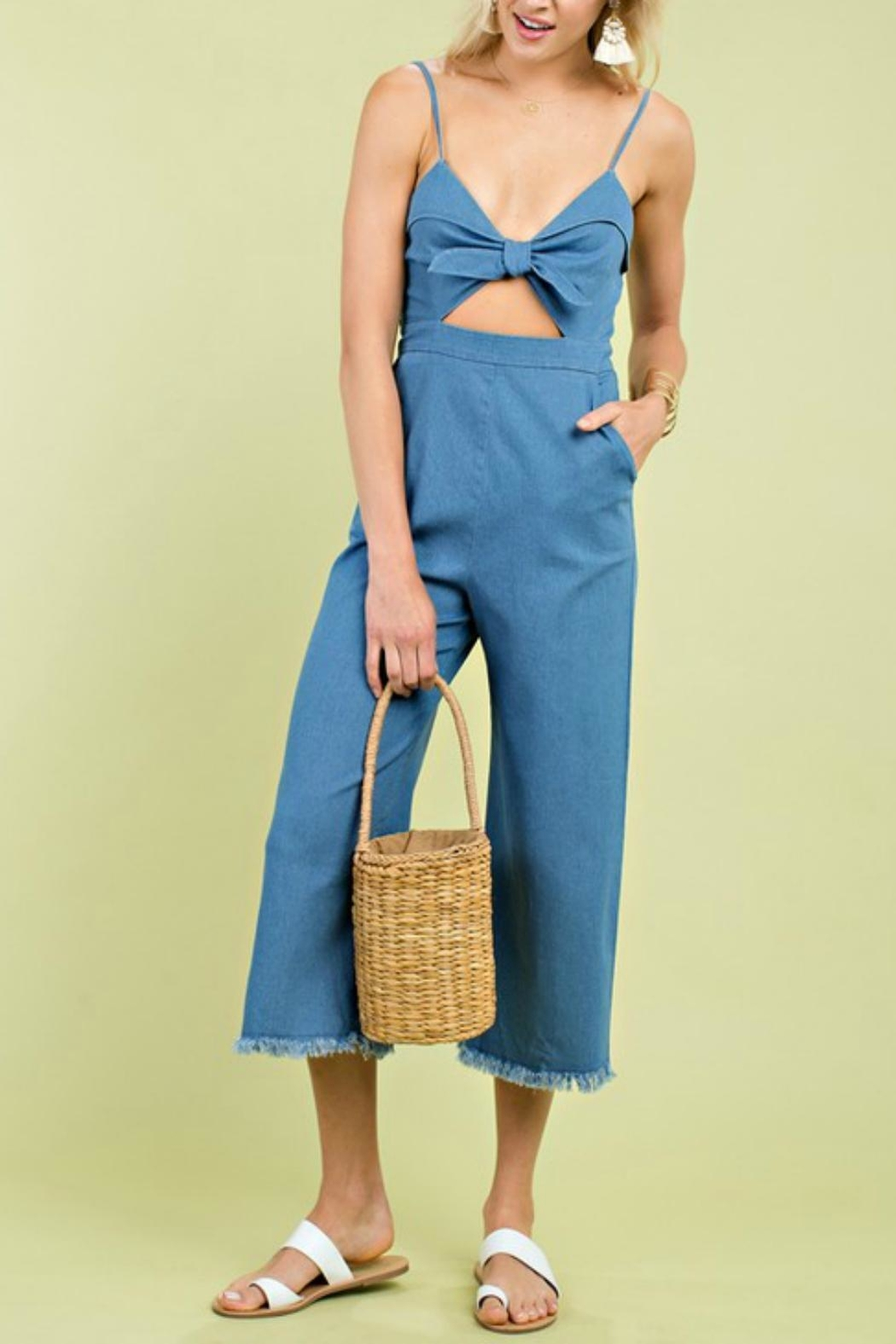 Pretty Little Things Denim Tie Jumpsuit - Main Image