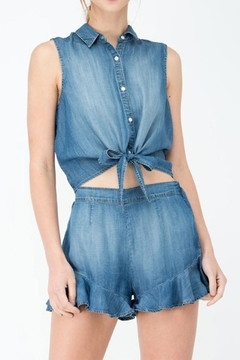Shoptiques Product: Denim Tie Top