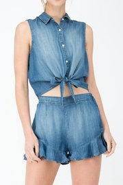 Sneak Peek Denim Tie Top - Product Mini Image