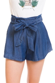 En Creme Denim Waist-Tie Shorts - Product Mini Image