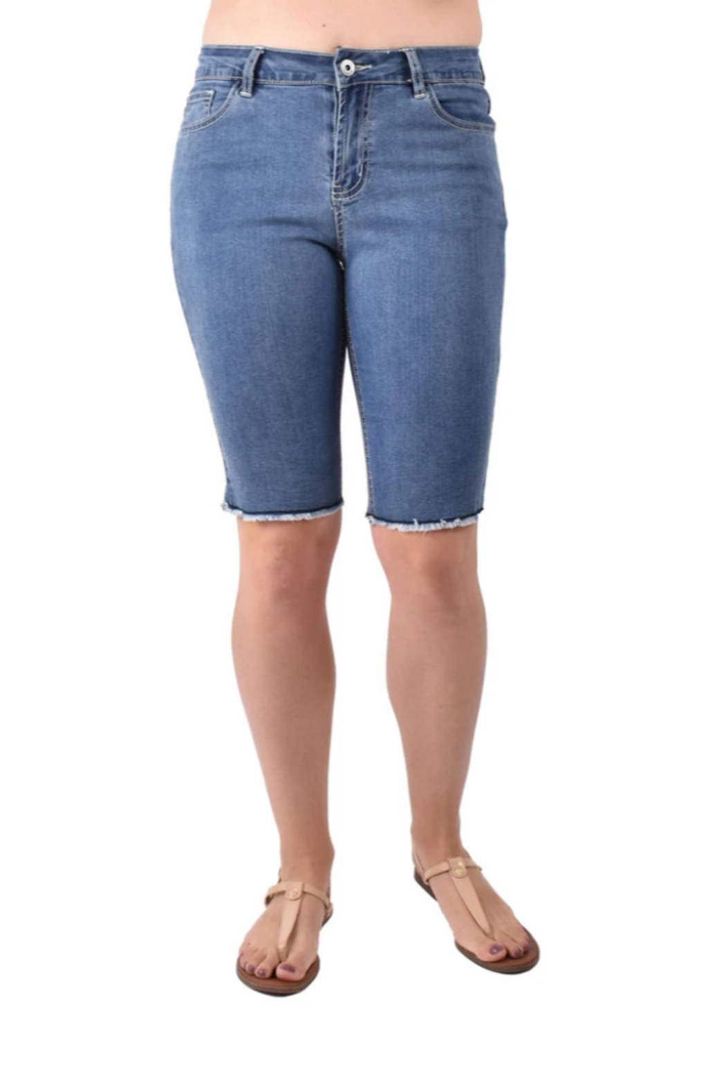 Ethyl  Jean Shorts With Fringe - Front Cropped Image