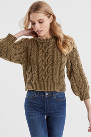 525 America DENIM WASH PUFF SLEEVE SWEATER - Front full body
