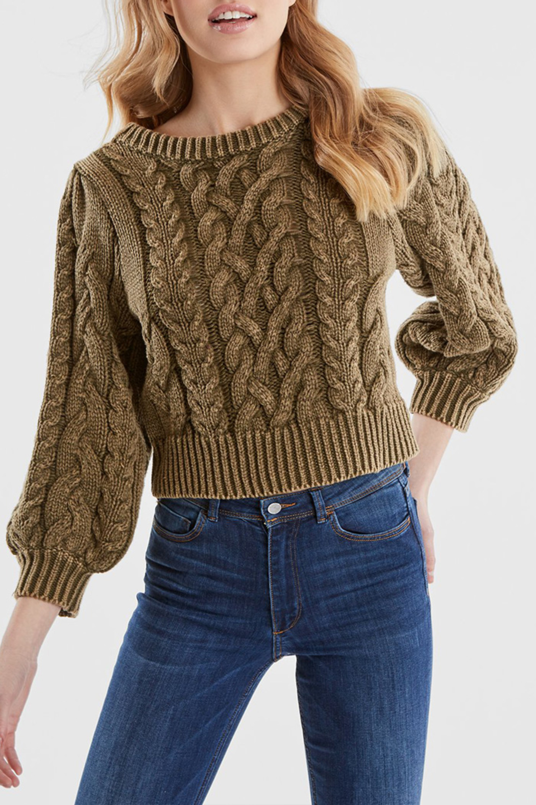 525 America DENIM WASH PUFF SLEEVE SWEATER - Main Image