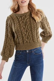 525 America DENIM WASH PUFF SLEEVE SWEATER - Product Mini Image