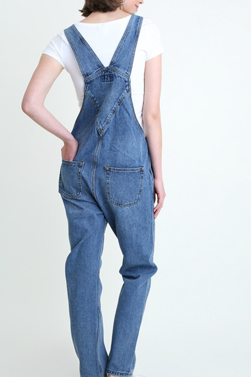 Umgee USA Denim Washed Overalls - Back Cropped Image