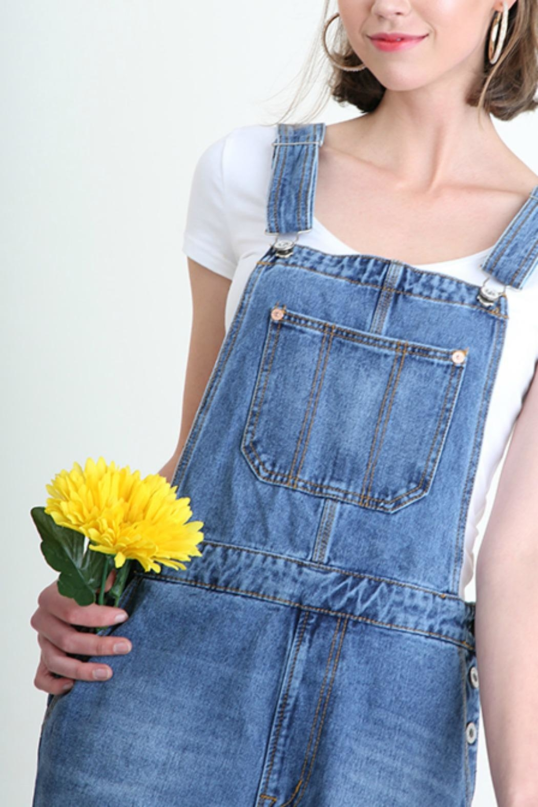 Umgee USA Denim Washed Overalls - Front Full Image