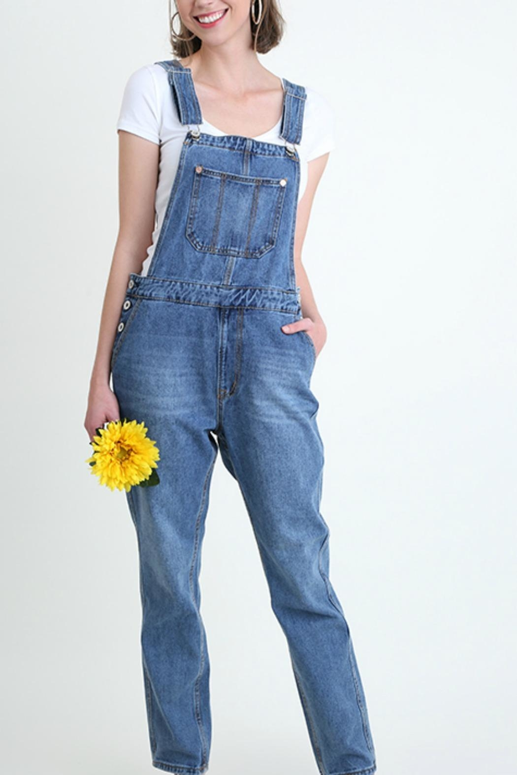 Umgee USA Denim Washed Overalls - Front Cropped Image