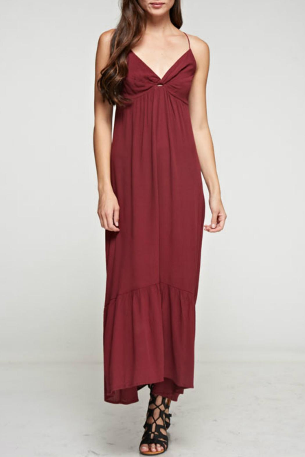 Denim Spot Twist Front Maxi Dress - Main Image