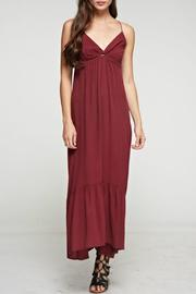 Denim Spot Twist Front Maxi Dress - Front cropped