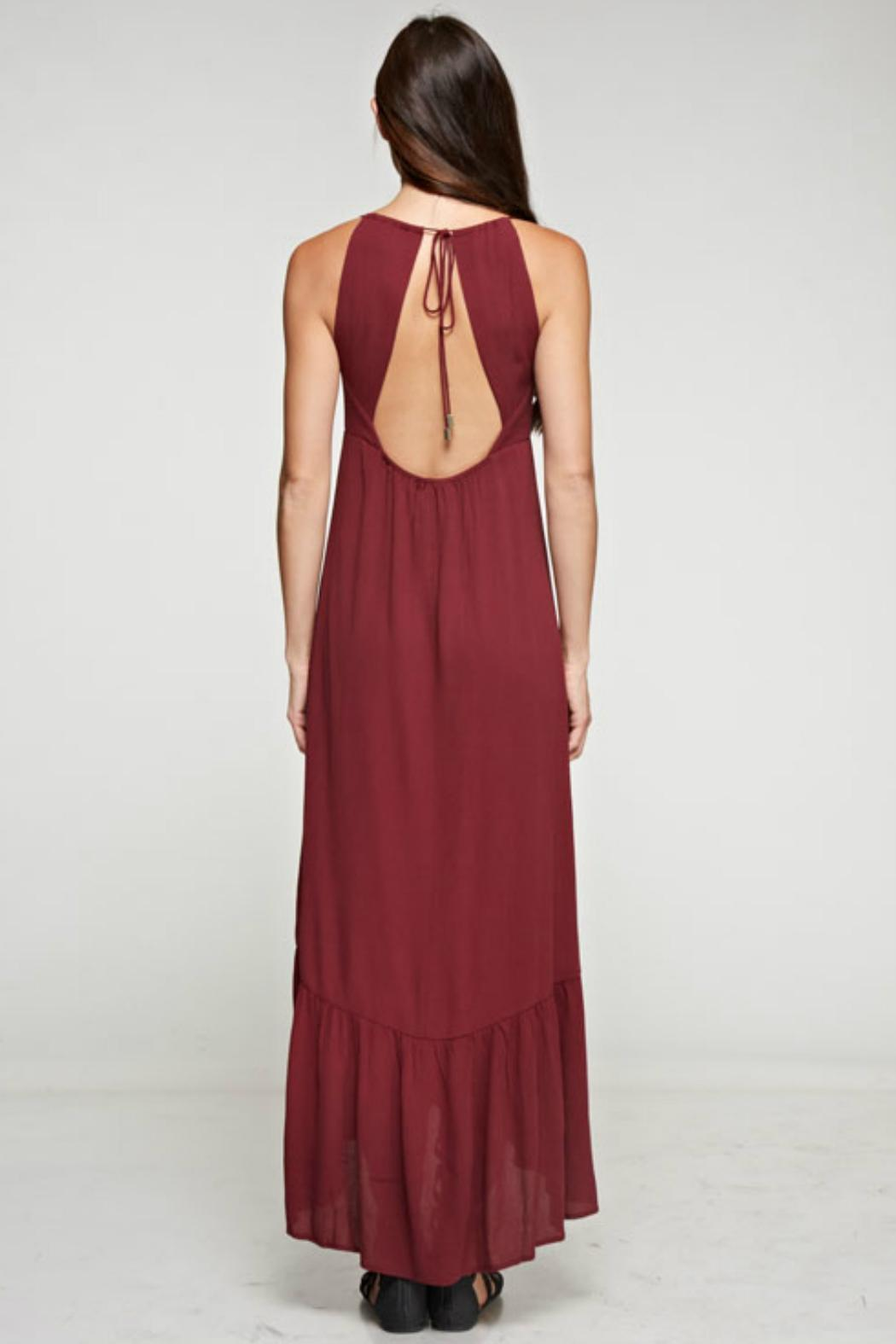 Denim Spot Twist Front Maxi Dress - Front Full Image