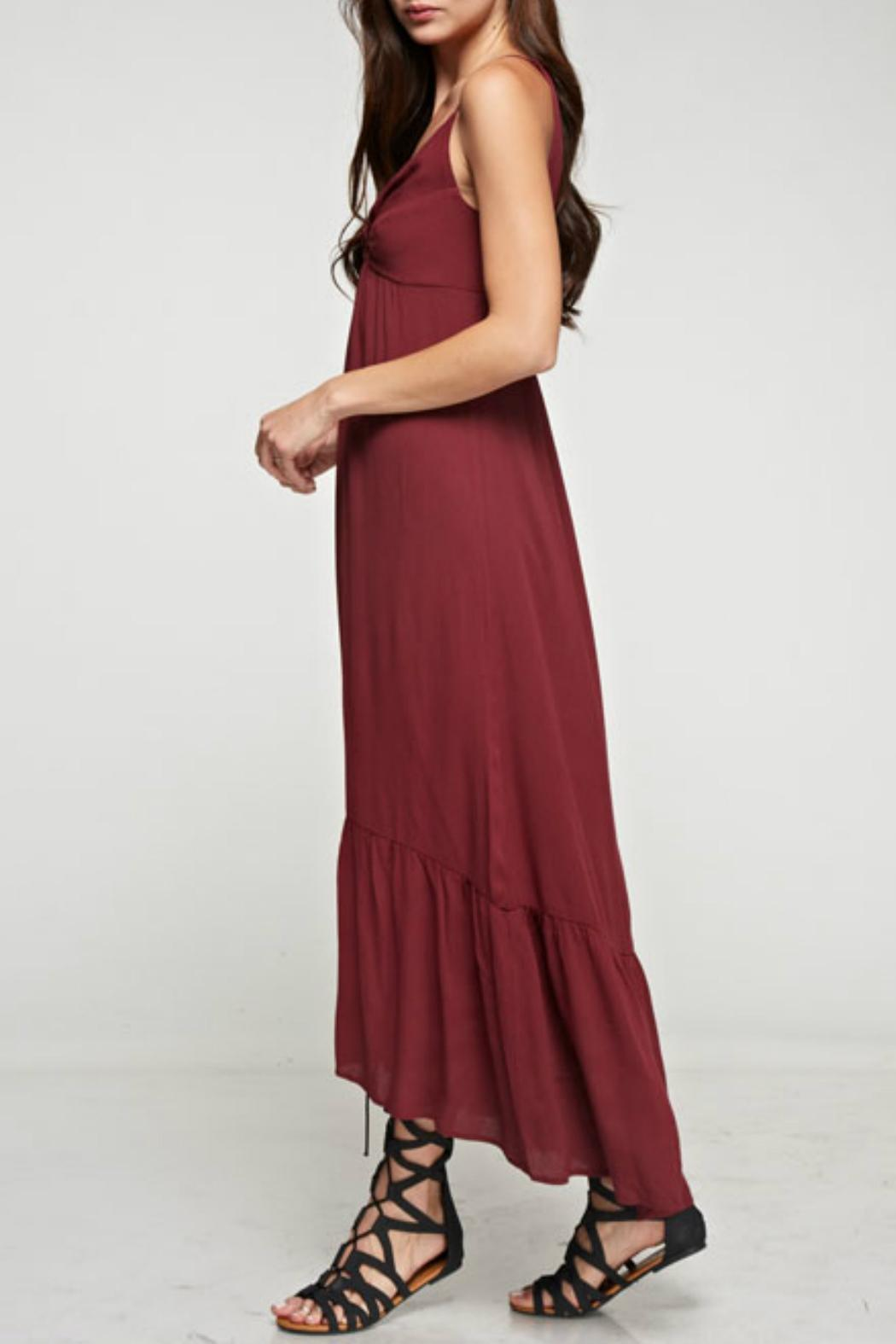 Denim Spot Twist Front Maxi Dress - Side Cropped Image
