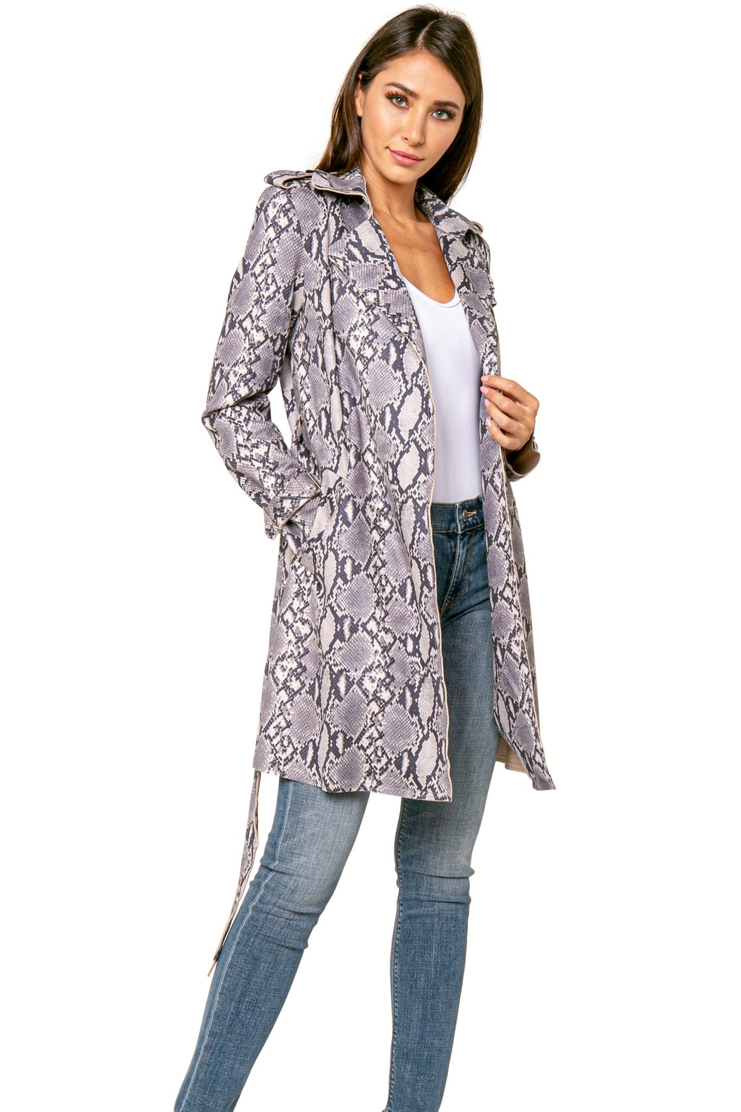 love token Denver Grey Snake Trench Coat - Front Full Image