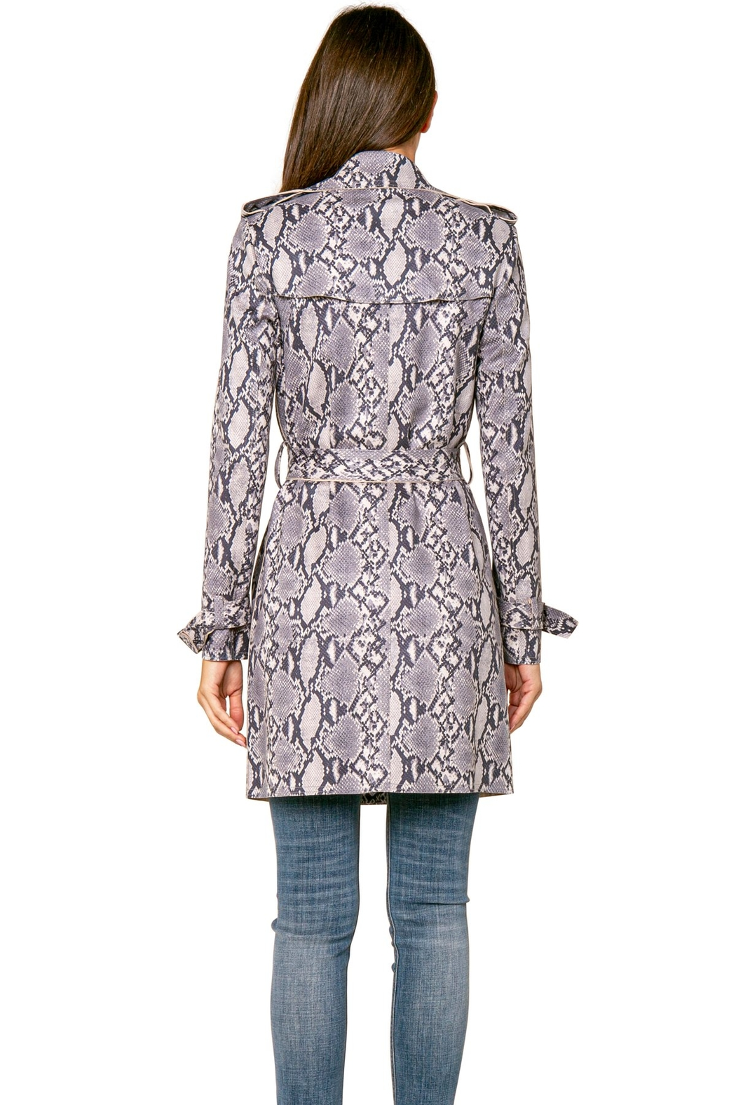 love token Denver Grey Snake Trench Coat - Side Cropped Image