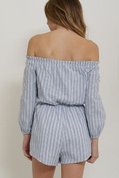 Shoptiques Product: Striped Off Shoulder Romper