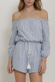 Depri Striped Off Shoulder Romper - Product Mini Image