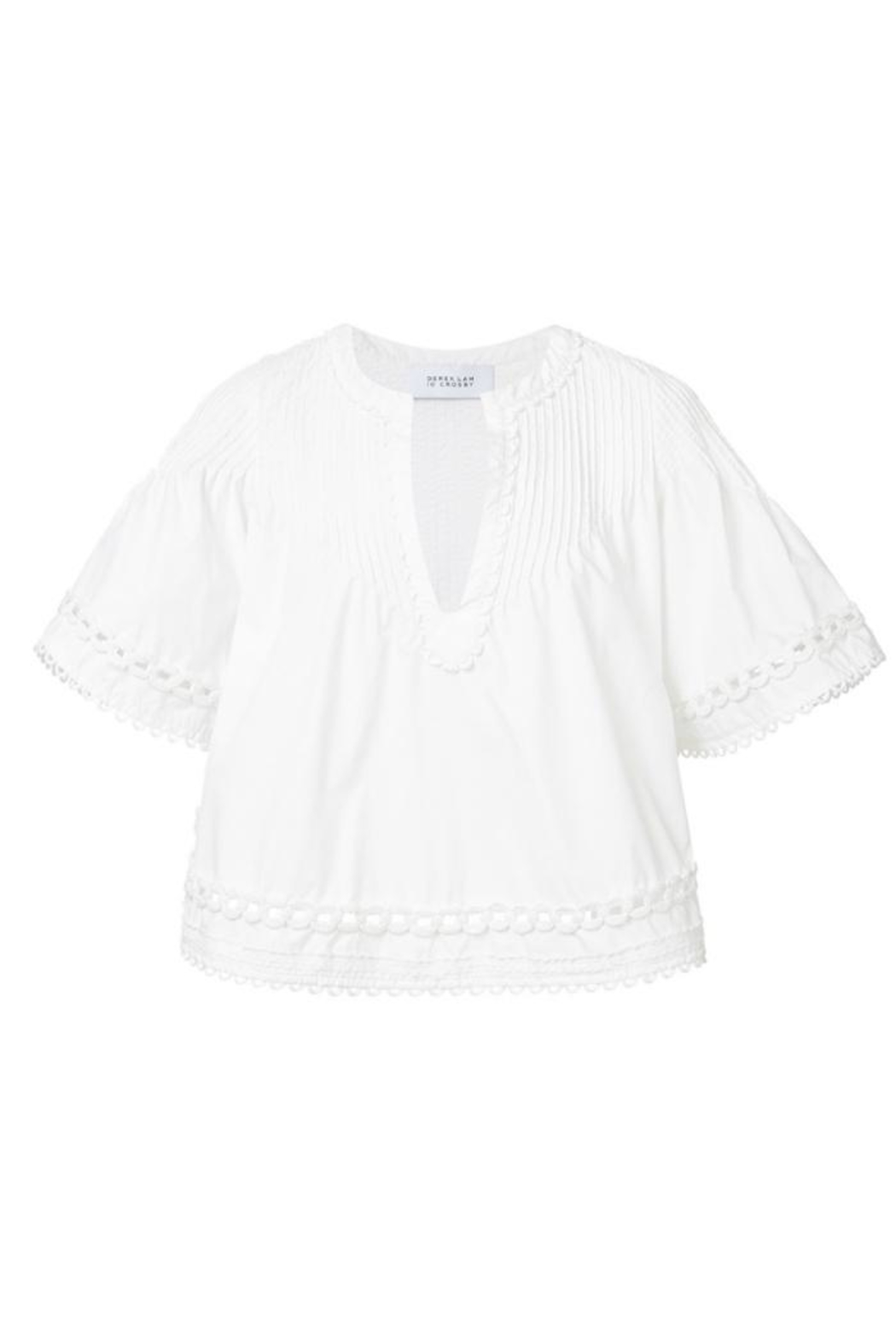 Derek Lam 10 Crosby Embroidered Pintuck Top - Back Cropped Image