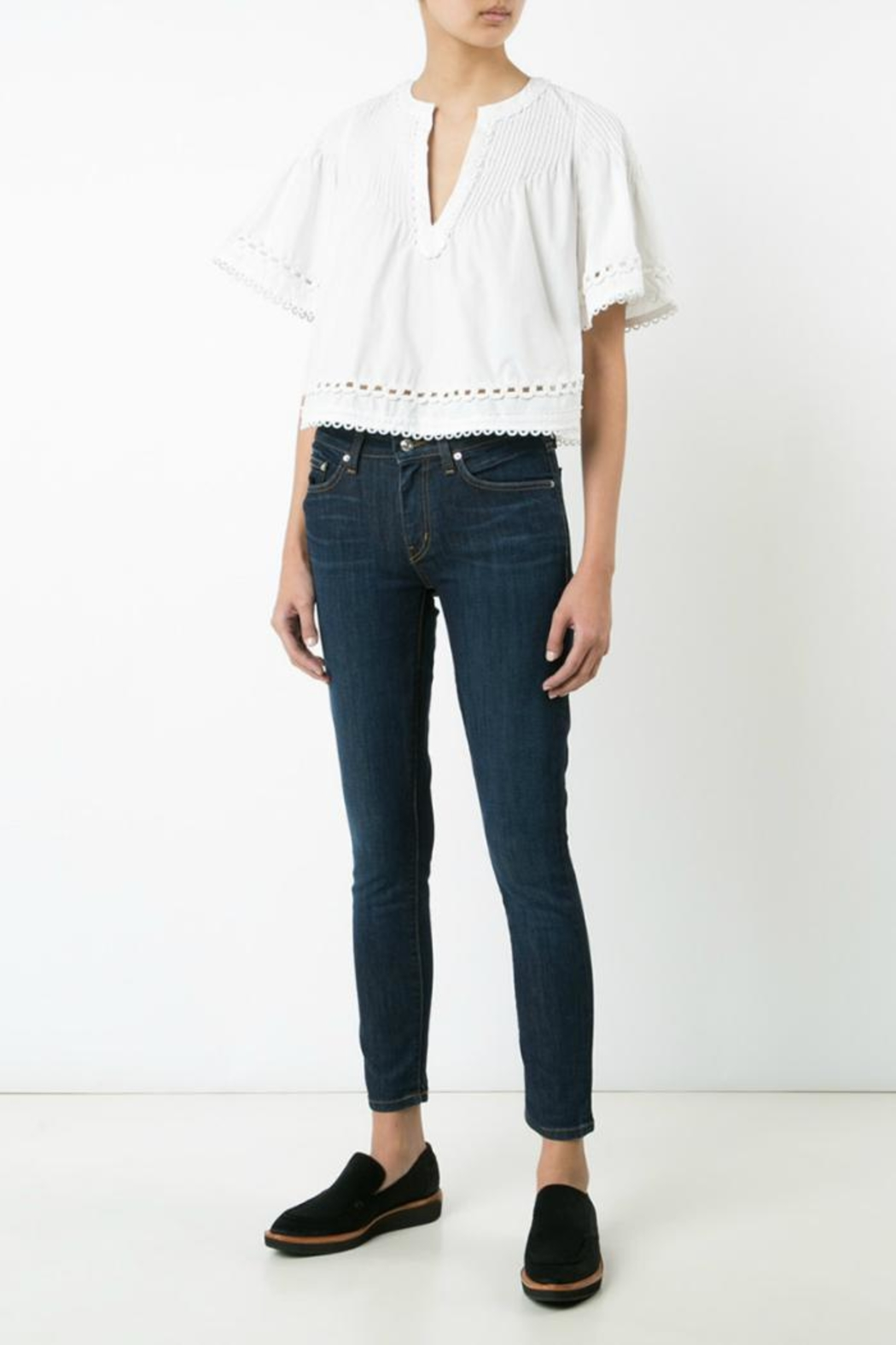 Derek Lam 10 Crosby Embroidered Pintuck Top - Side Cropped Image