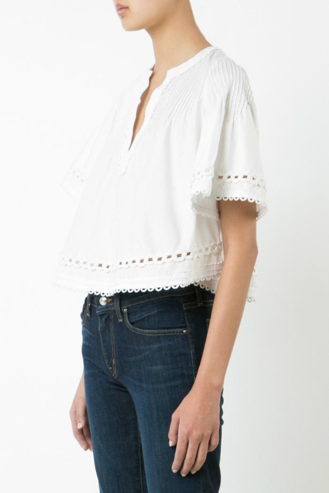 Derek Lam 10 Crosby Embroidered Pintuck Top - Main Image