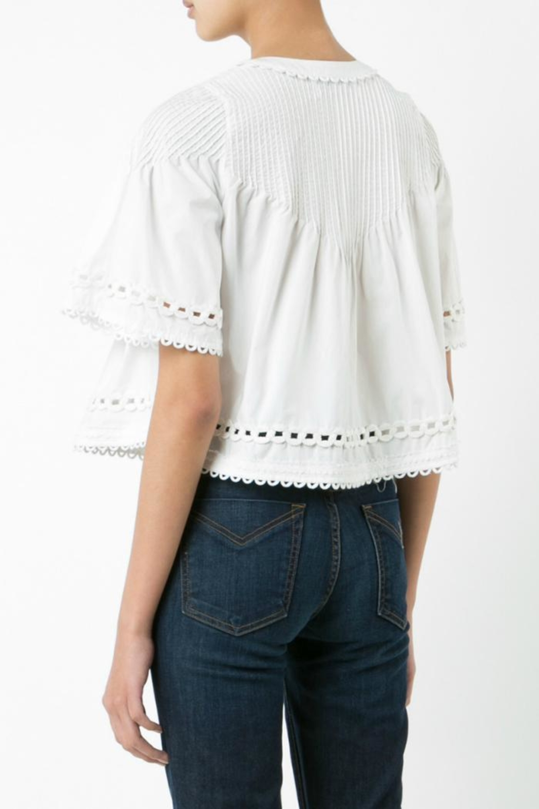 Derek Lam 10 Crosby Embroidered Pintuck Top - Front Full Image